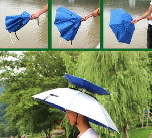 Al aire libre 80cm Sun Umbrella Cap Large Doble cubierta Ciclismo Pesca Senderismo Playa Camping Sombrilla Plegable Sunny Rain Umbrella Hat Cap
