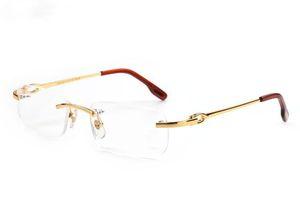 Los nuevos hombres de moda del marco óptico de los vidrios sin rebordes del metal del oro cuerno de búfalo Gafas de sol lentes claros occhiali lentes luneta De Soleil