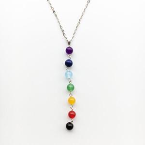Colar de Pedra Natural por atacado Lava Pedra Rainbow Yogo 7 Chakra Beads Pingente de amuleto de Jóias de Presente de Natal