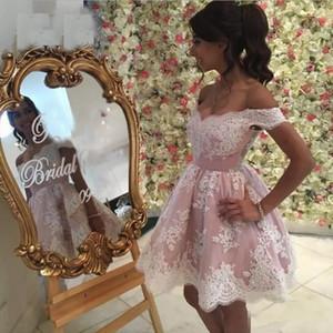 Rosa Spitze Sexy V-Ausschnitt Short Mini Prom Kleider 2018 Appliques Formale Party Kleider Flügelärmeln Abendkleid Günstige Heimkehr Kleid