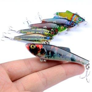 Color de camuflaje Deep Diving Laser Minnow Bait 7cm 6.6g 3D Eyes Plástico Artificial realista Ganchos de señuelo de pesca