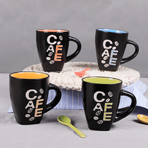 Wholesale- Personality Lovely Pattern Colored Glaze 300ml Four Colors Coffee Cup Ceramic Cup Ceramic Mug With A Spoon