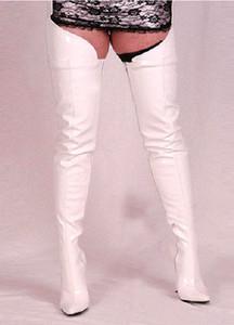 Beyaz Rugan Sivri Burun Uyluk Yüksek Çizmeler Kadın Extrem Yüksek Topuklu 12 cm Bottes Femmes 2017 Artı Boyutu Kadın Kırmızı Çizmeler Çok renkli