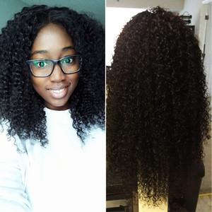 Монгольские курчавые вьющиеся кружева перед парики из натуральных волос 130% плотность # 1b натуральный черный цвет Glueless Afro Kinky Curly Wig для чернокожих женщин