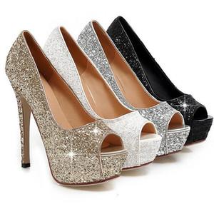 Kostenloser Versand Lady Gorgeous Nachtclub Abendschuhe Super High Heels Peep Toe Sandalen Frau Kleid Schuhe Gold Hochzeit Brautkleid Schuhe