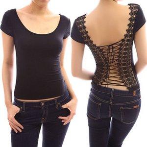 Avrupa Clotheses T-Shirt Kadın Yaz Tasarımcısı Lace Up Bandaj Yeni Moda Kaya Geri Giyim T-shirt Tootc Tops