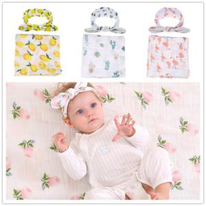 4colors Baby cute mantas de gasa de impresión 2 unid sets diadema + manta de algodón 120x120cm plantas flores flamingo limón patrones niños ropa de cama swadd