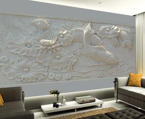 Lusso europeo in rilievo moderna tridimensionale stagno picture stagno murale sfondo wallpaper per pareti 3 d per soggiorno