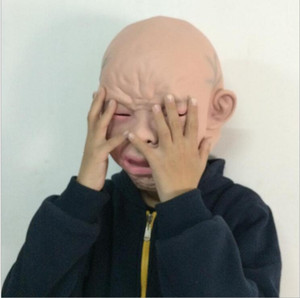 Latex Effrayant Pleurer bébé masques Costume Halloween Effrayant Full Head Face Masque En Latex Effrayant Pleure Bébé Full Head Masque
