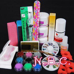 Wholesale- 1 SET Nail Beauty Acrylic  120ml acrylic Liquid Sable pen Brush and Dappen Dish Tips Set UV Gel Manicure Kit