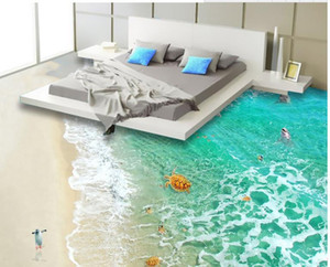 Piso 3d personalizado pvc autoadesivo papel de parede limpar a água do mar da praia 3d piso murais wallpapers para sala de estar