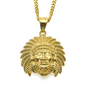 Hip Hop Indian Head Shaped Pendant Necklace Gold Plated Tutankhamun Charm Jewelry For Men Women With 24'' Cuban Chain