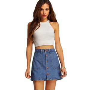 Novas Mulheres Da Moda Mini Denim Saias De Cintura Alta Sexy Mulheres Bolsos Azul Único Breasted Denim A-Line Saia MHSG