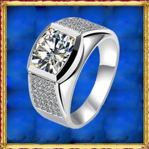 Nueva llegada 18 k oro lujo Moissanite Halo Diamond hombres anillo para los amantes del anillo de boda 0.5CT