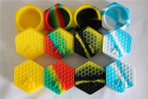 Conteneurs antiadhésifs de cire d'abeille de miel 26ml hexagone abeille de miel contenant de silicone de qualité alimentaire pots support outil de support de pot d'huile pour vaporisateur