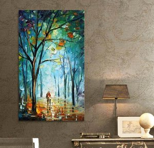Framed Pure Handicrafts Blue City Tree Street Modern Abstract Art Oil Painting,Home Wall Decor On High Quality Canvas Multi sizes