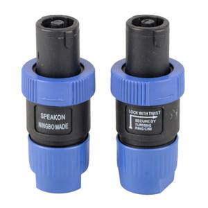 2 Pcs Speakon NL4FC Azul 4 Pinos Macho Plug Compatível Cabo de Áudio Conector G00344