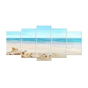 Seashell 5 pannelli Seascape Giclee Stampe su tela Paesaggio Dipinti moderni Wall Art Sea Beach Immagini Home Decor