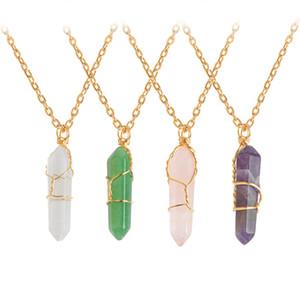 Hexagone Forme Chakra Colliers Guérison Natural Stone Point de Pendentifs avec la chaîne d'or pour femmes Bijoux cadeau Drop Shipping
