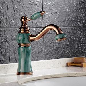 Estilo europeu Barato Torneiras Do Dissipador Do Banheiro Com Jade Pintura / Rose Dourado 360 Rotativo Torneiras Do Banheiro Para Vasos Dissipadores HS328