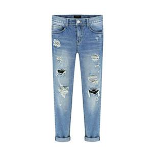 Venta al por mayor- Pantalones vaqueros de mujer de primavera rasgados rectos longitud completa Famale Agujero Mid Cintura Jeans Pantalones Pantalones de algodón lavados