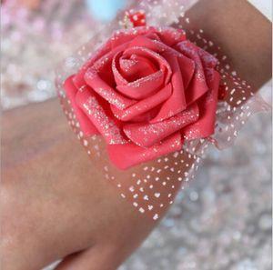 Çevre Dostu Gerçek Görüntü Ucuz Pembe Gelin nedime Bilek Çiçekler Ucuz Düğün Düğün Aksesuar Şerit Flower Malzemeleri