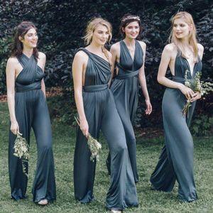 2016 Cheap Custom Convertible Dress Bridesmaids Abiti Sexy Scollature Mix Grigio Aperto Indietro Spandex Plus Size Pantaloni Damigella D'onore Spedizione Veloce