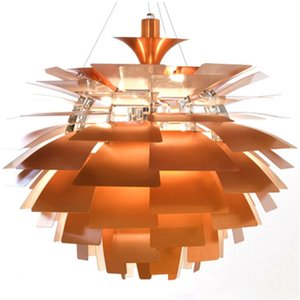 Diâmetro 38/48/60/72 cm Branco / Hot Pink / Prata / Dourado / Cobre Poul Henningsen PH Alcachofra Luz de Teto Pendente Iluminação Lâmpada Droplight