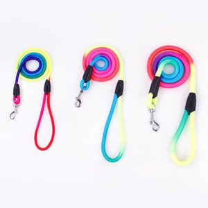 2020 Strong Dog Leashes Top Quality Nylon Rope Line Rainbow Colorful Cute Small Large Dog Outdoor Walking Collar Leads Pet Product