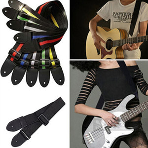 Elektrik Akustik Halk Gitar Rahat için deri saplı Ayarlanabilir Gitar Kemer Dokuma Naylon Gitar Askı