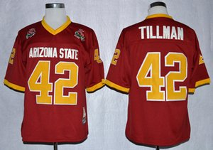 Mens 1997 do sol do arizona estado de futebol da faculdade jérsei do vintage marrom 42 Pat Tillman Rose Bowl Costurado Borgonha Jerseys M-XXXL