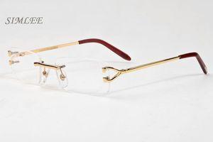 2018 hochwertige Designer-Sonnenbrille für Männer unisex randlose klare Brille Mode Männer Brille Gold Silber Metallrahmen Büffelhorn Gläser