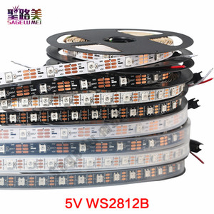 DC5V 개별적으로 주소 ws2812b LED 스트립 빛 화이트 / 블랙 PCB 30/60/144 픽셀, 스마트 RGB 2812 주도 테이프 리본 방수 IP67 / IP20