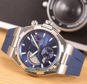 Cheap New Overseas Dual Time Azul Dial Power Reserve P47450 / 000A-9039 Automatic Mens Watch pulseira de borracha aço capa relógios de alta qualidade