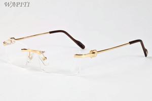 Occhiali da sole senza montatura per uomo 2019 Donne Occhiali da sole senza montatura in lega cava unici personalità Occhiali da sole oversize da designer