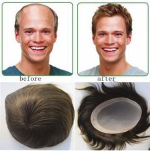 """Hombre Toupee Human Hair 7 """"x9"""" 6 """"x8"""" 8 """"x10"""" Hombres Sistemas de cabello Reemplazo Mono Toupee para hombres"""