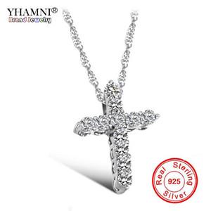 YHAMNI Luxus Original 925 Sterling Silber Kreuz Anhänger Halskette Prinzessin Luxus Diamant Halskette Anhänger für Damen und Frauen N10
