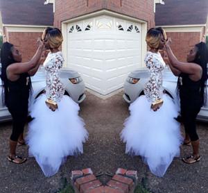 2018 섹시한 새 도착 화이트 머메이드 웨딩 드레스 쥬얼 넥 긴 소매를 통해 볼 주름 장식 Tulle Wedding Bridal Gowns Custom Made
