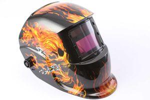 Novo criativo CHAMA SKULL Pro Solar Auto Escurecimento Welding Helmet Arc Tig Mig Máscara Grinding Welder Máscara MULTIFUNCIONAL