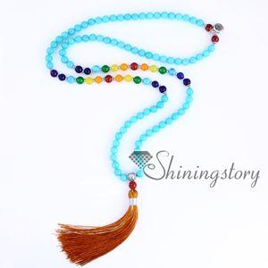 chakra necklace 108 prayer beads seven chakra crystal necklaces healing stone necklace spiritual jewelry