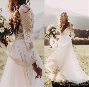 2017 A Line Bohemian Country Wedding Dresses With Sheer Long Sleeves Bateau Neck Lace Applique Chiffon Bridal Gowns Cheap