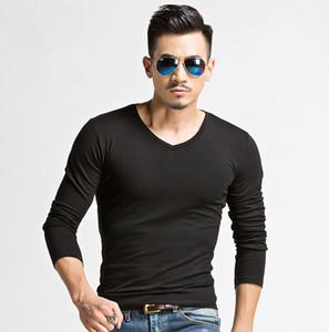 NEW FASHION T-shirts Solid Mens Undershirts Casual Teeshirts Men's Clothing Cotton Tops Slim Fit V-neck Long Sleeve Tshirts M L XL 2XL 3XL