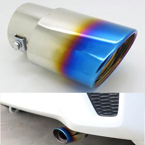 مائل المحروق الأزرق التيتانيوم سيارة الفولاذ المقاوم للصدأ العادم الذيل نصائح نصائح كاتم الصوت