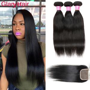 En gros Non Transformés Cheveux Brésiliens Weave 3 Bundles avec Fermeture Pas Cher Remy Cheveux Humains Wefts avec Fermeture Rapide Livraison Gratuite par DHL