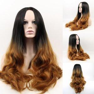 Mode Brown Synthétique Perruques Pour Les Femmes Noires Longue Corps Vague Synthétique Aucun Dentelle Front Perruque Pelucas Sinteticas Freetress Cheveux Perruques