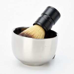 Durável dos homens de Aço Inoxidável Barba Sabão Copo Barber Salão Profissional Para Escova Shinning Caneca de Barbear Tigela Face Care Presente ZA2089