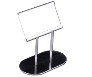 Hotel restaurant food name price list card label tag frame stand gold stainless steel label holder display rack tabletop