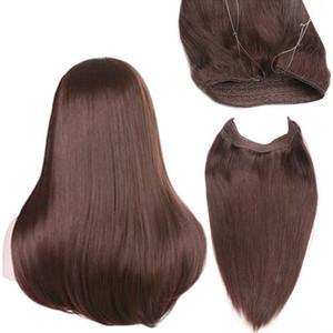 Extensions de cheveux serre-tête de fil invisible 100g Non transformés Vierge Brésilienne Halo droits cheveux humains postiches Poisson en armure de cheveux