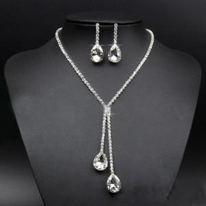 Gelin Takı Seti Waterdrop Rhinestone Gümüş Kaplama Kristal Kolye Küpe Kadınlar Düğün Bildirimi Mücevherat