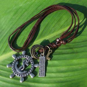 Vintage Schmuck Herren Halskette Retro Silber Bronze Messing Anchor Rudder Anhänger Kreuz Charme Halskette Aus Echtem Leder Kette Halsketten